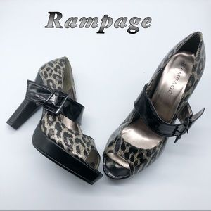 Rampage-Black Cheetah Mary Jane Peep Toe Heels 9
